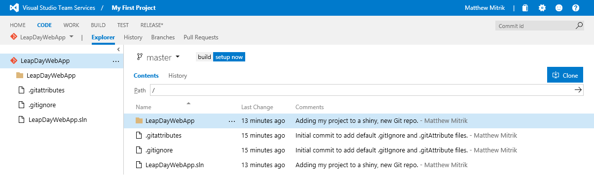 Exploring a code repository in Visual Studio Team Services