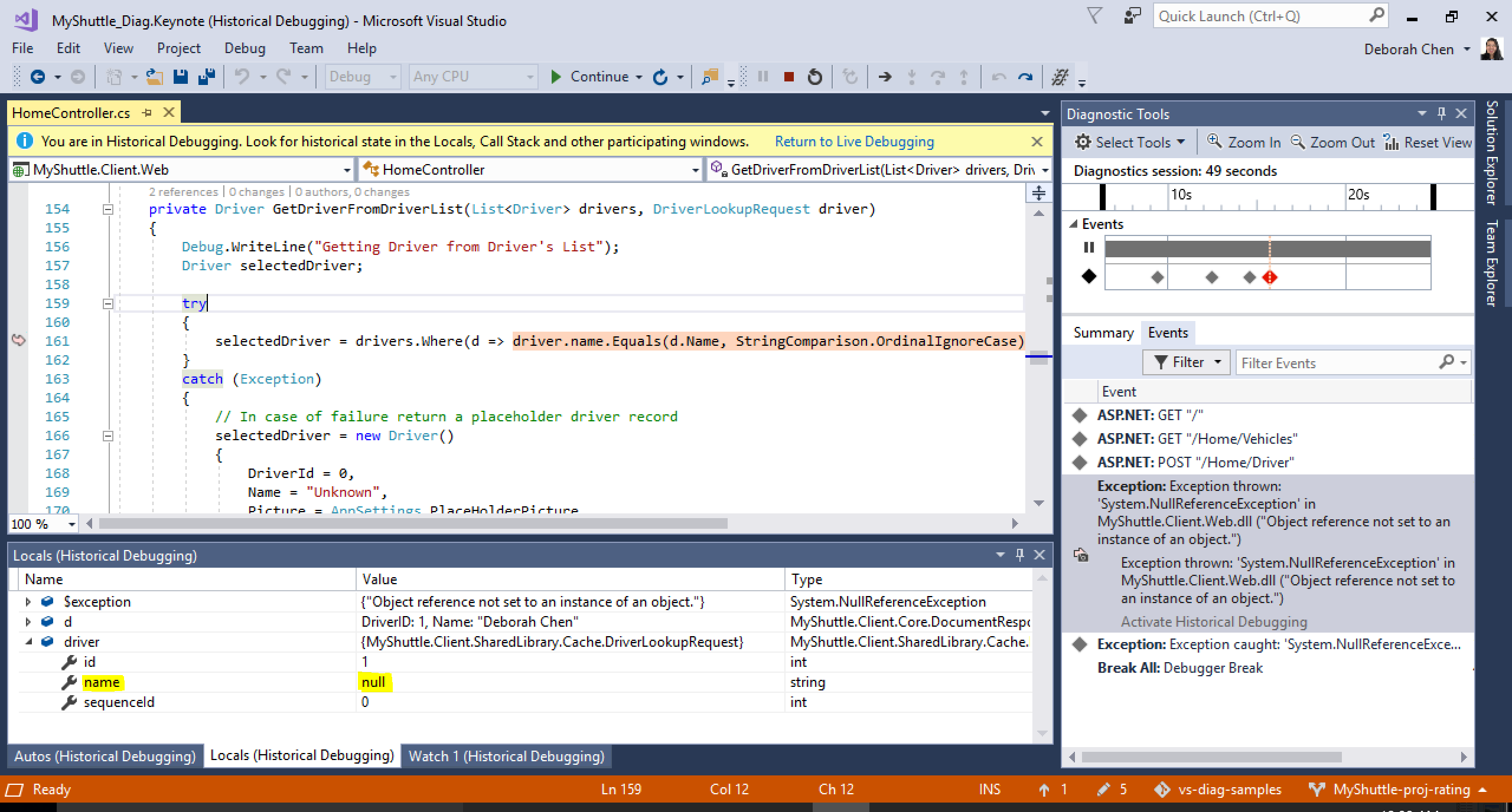 Visual Studio is in historical debugging mode