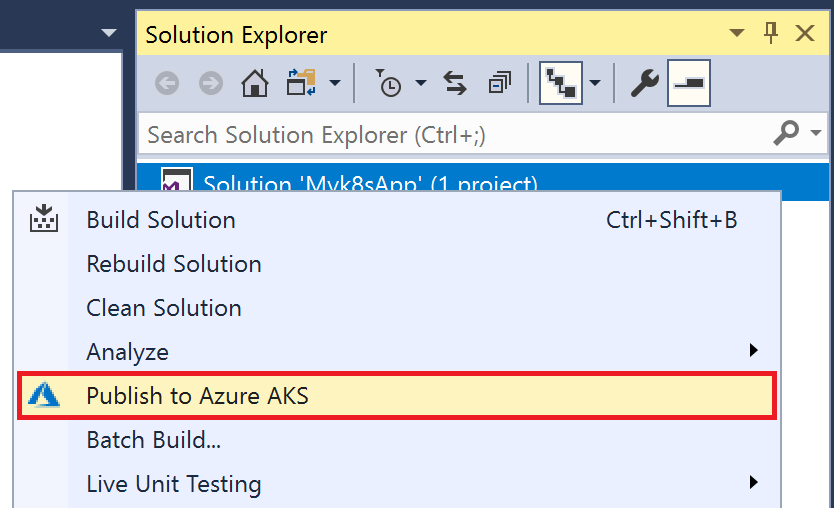 Publish to Azure AKS option in Solution Explorer
