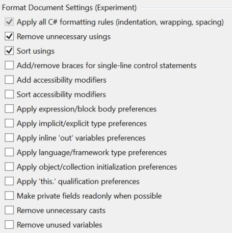 Format Document Options Extension For Conventions