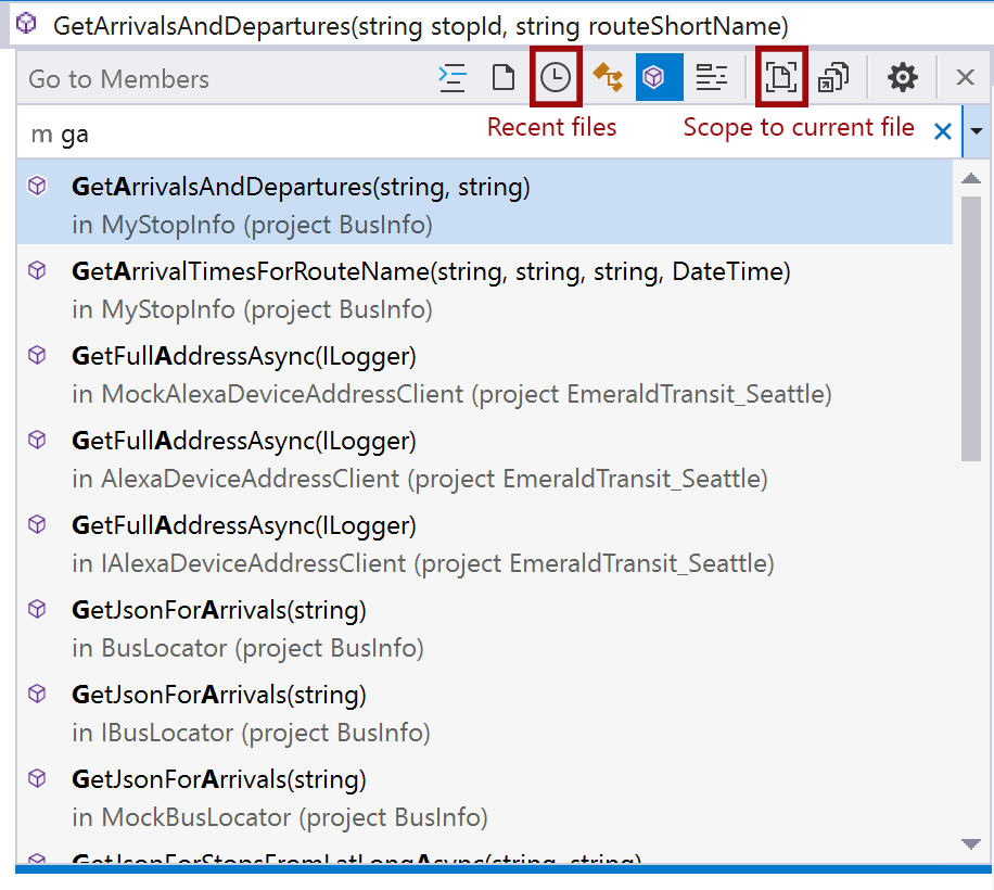 Go To All showing recent files and scope to current file options highlighted