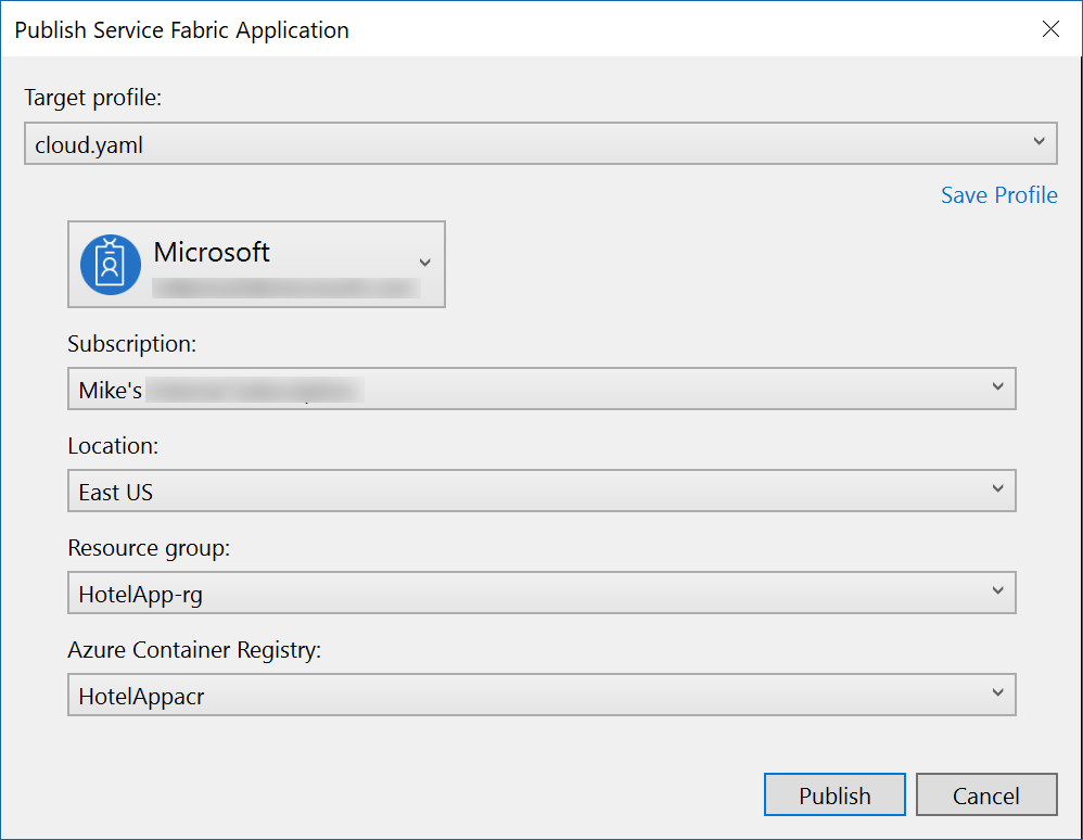 ervice Fabric Mesh Publish dialog showing options like Subscription, Location, and Azure container registry