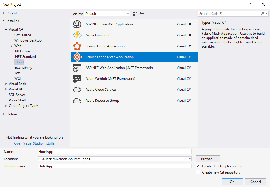 Service Fabric Mesh in New Project Dialog, under Visual CSharp, Cloud