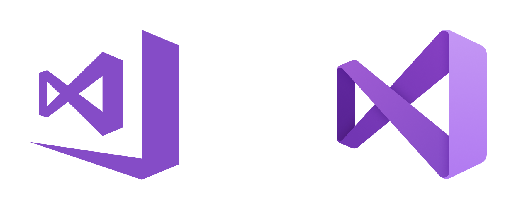 Visual Studio 2017 icon (left) and the new Visual Studio 2019 icon (right)