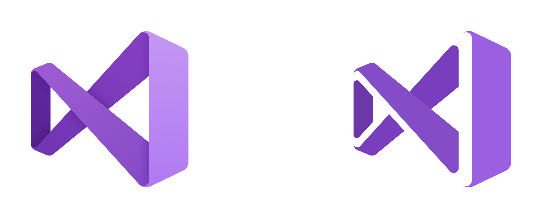 The Visual Studio 2019 release icon (left) next to the Visual Studio 2019 Preview icon (right)