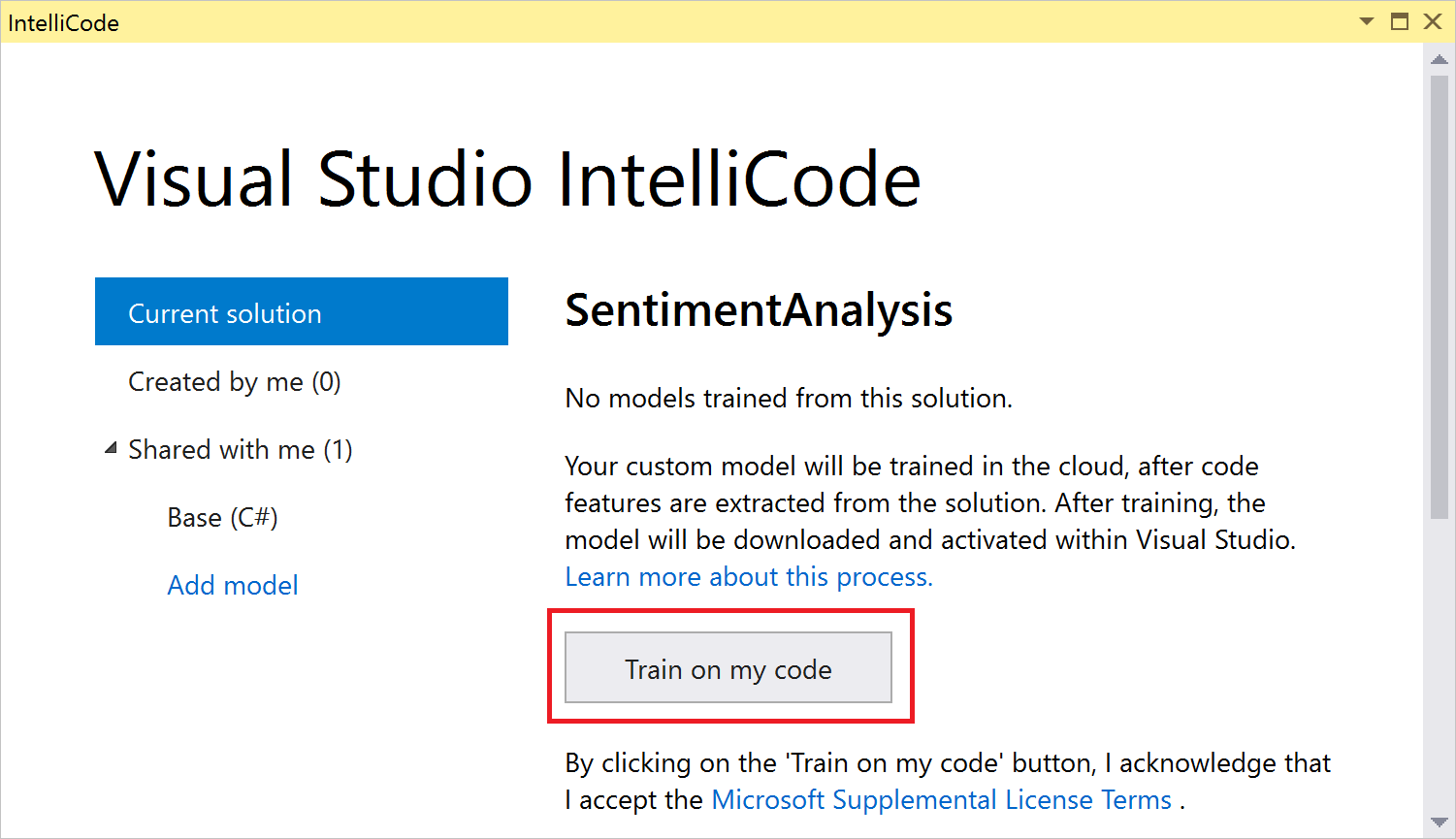 Training a custom IntellICode model on my code