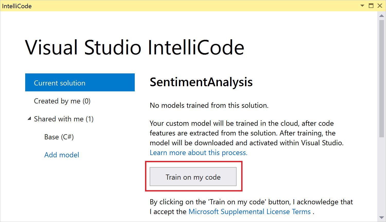 Training a custom IntellICode model on my code