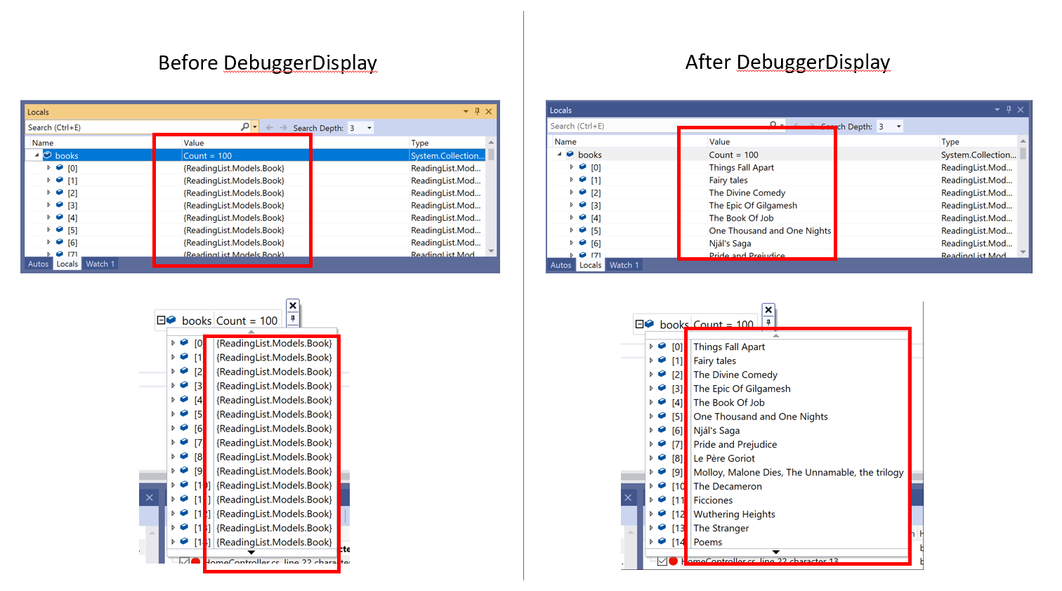 Locals and DataTips windows with and without DebuggerDisplay attribute appended to code