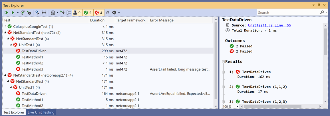 This image shows the expanded Test Explorer .