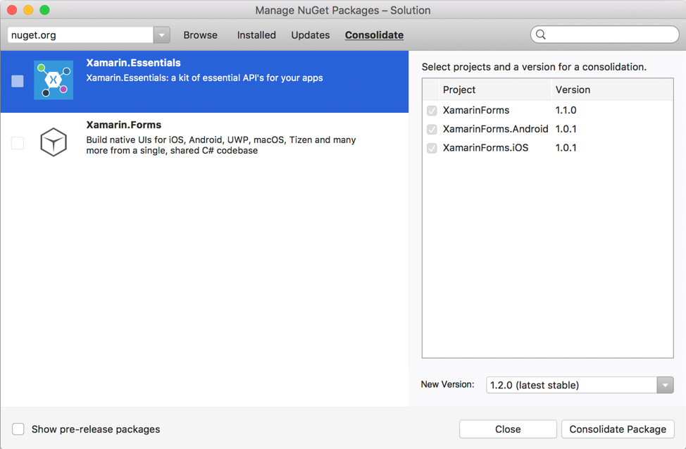 NuGet package management dialog, showing package consolidation in Visual Studio for Mac