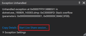 Visual Studio - Start Live Share Session from an Exception