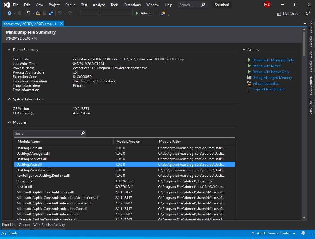 Visual Studio - Dump Summary Page