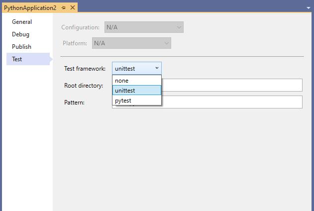Test Framework Dropdown Box