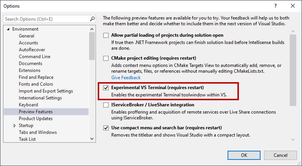 Say hello to the new Visual Studio terminal!   The Visual