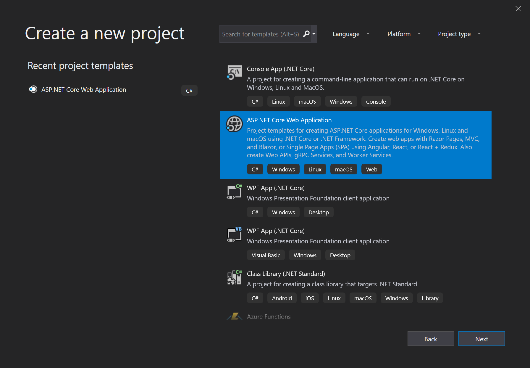"Screenshot of the ""Create a new project"" dialog in Visual Studio"