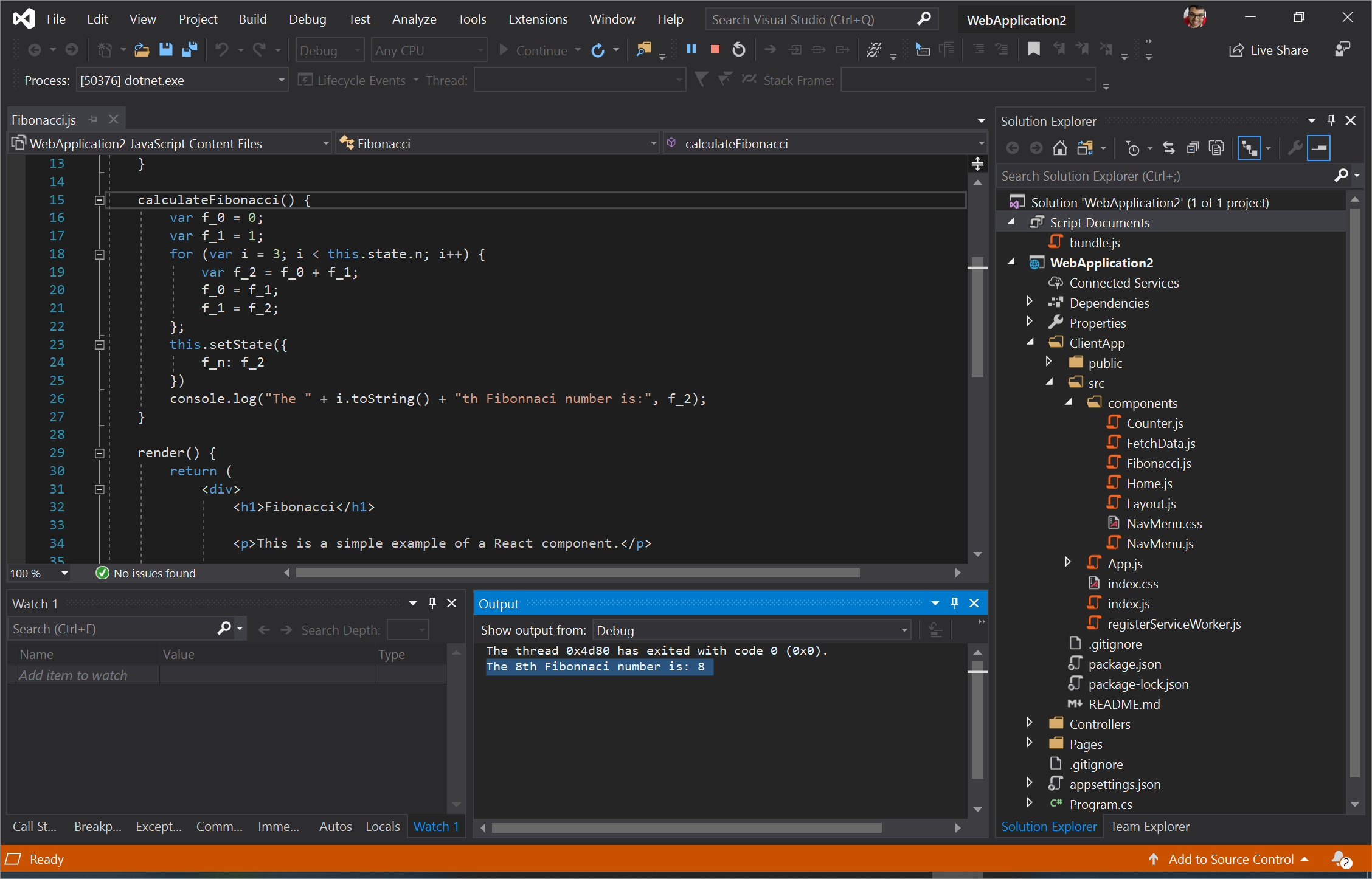 Screenshot of Visual Studio with our console.log statement shown in the Debug Output