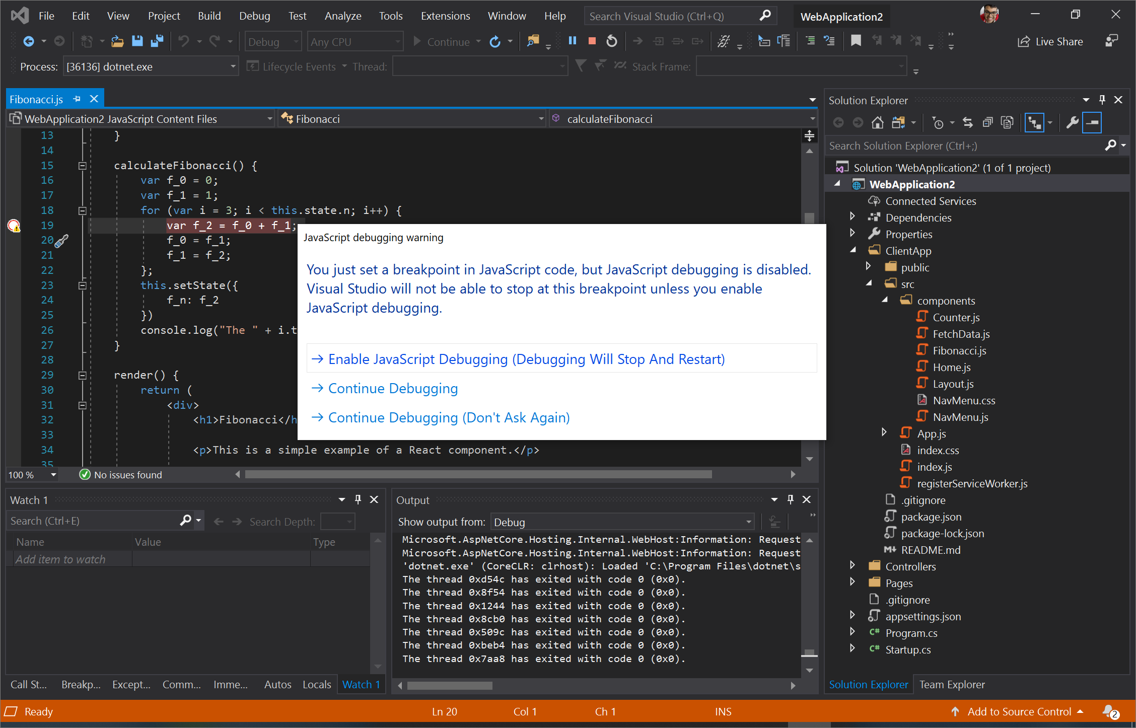 Screenshot of Visual Studio asking if you want to enable JavaScript debugging