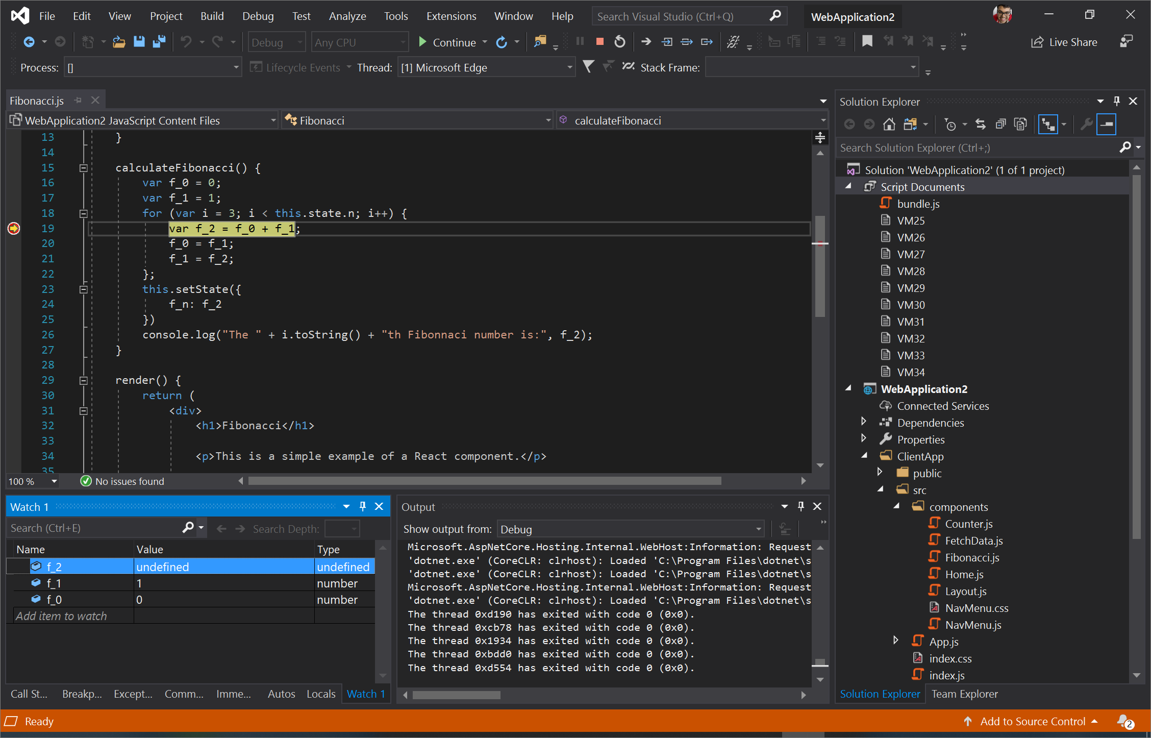 Screenshot of Visual Studio with a breakpoint set on Line 19 in Fibonacci.js and f_0, f_1, f_2 added to Watch 1
