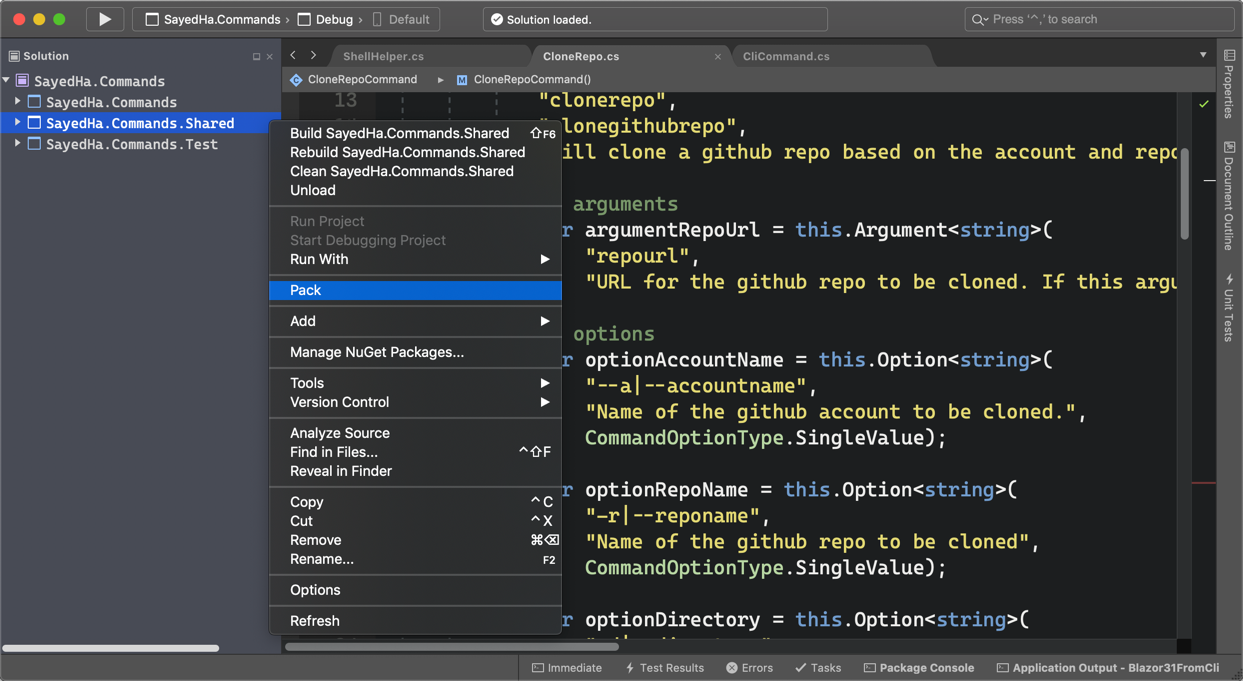Creating a NuGet package using Pack in Visual Studio for Mac