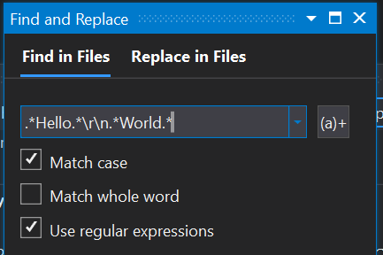 A screen capture of the Find in Files dialog with a regular expression being used.