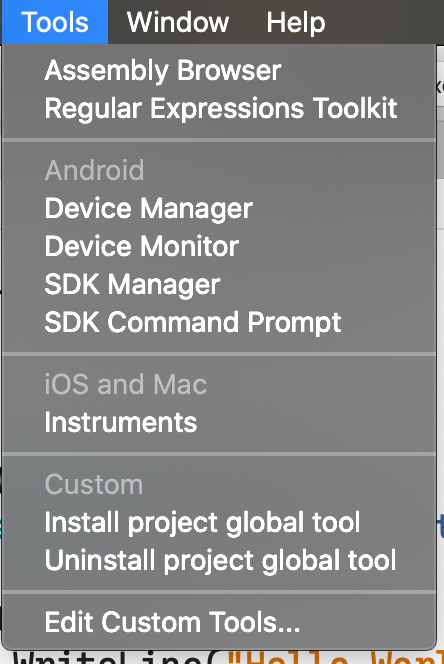 visual studio for mac tools menu with custom tools