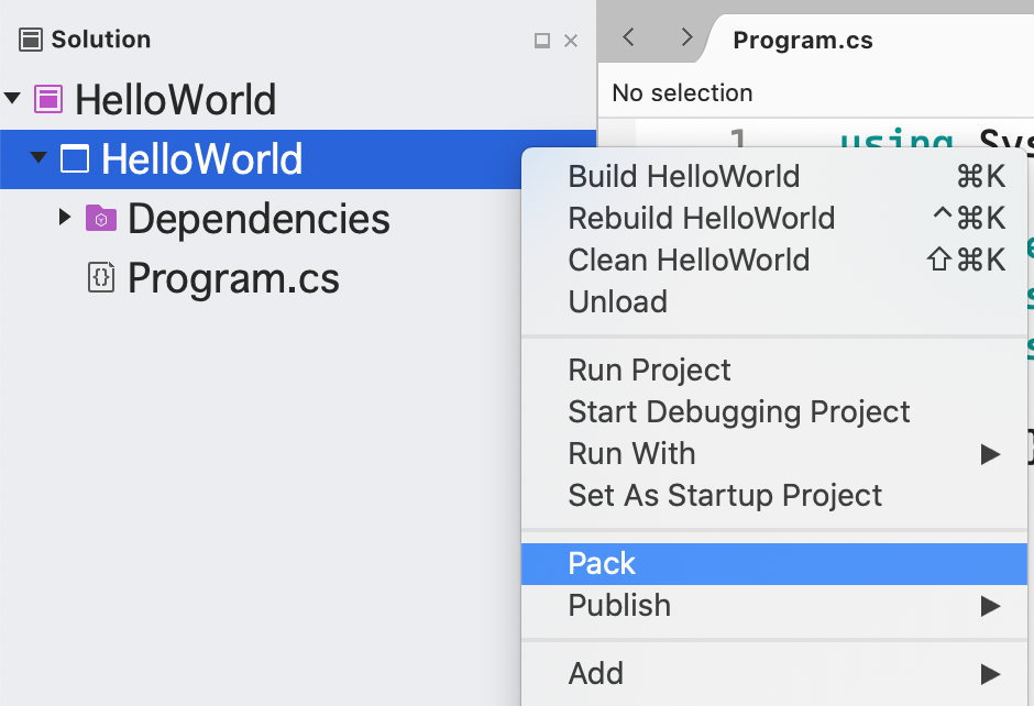 visual studio for mac pack menu option