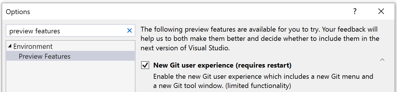 Turn on new Git UX preview feature