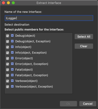 vsmac extract interface dialog