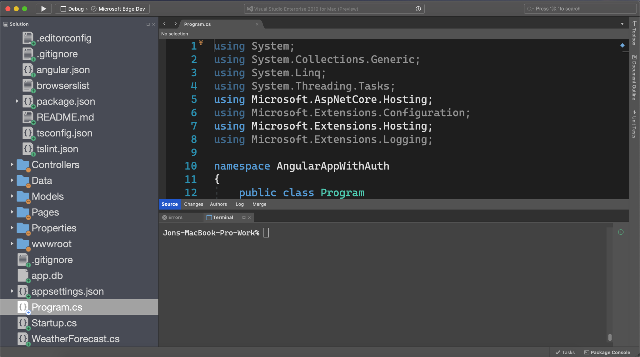 Visual Studio for Mac Integrated Terminal