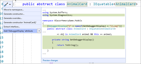 Quick Action to Add a Debugger Display Attribute to a Class