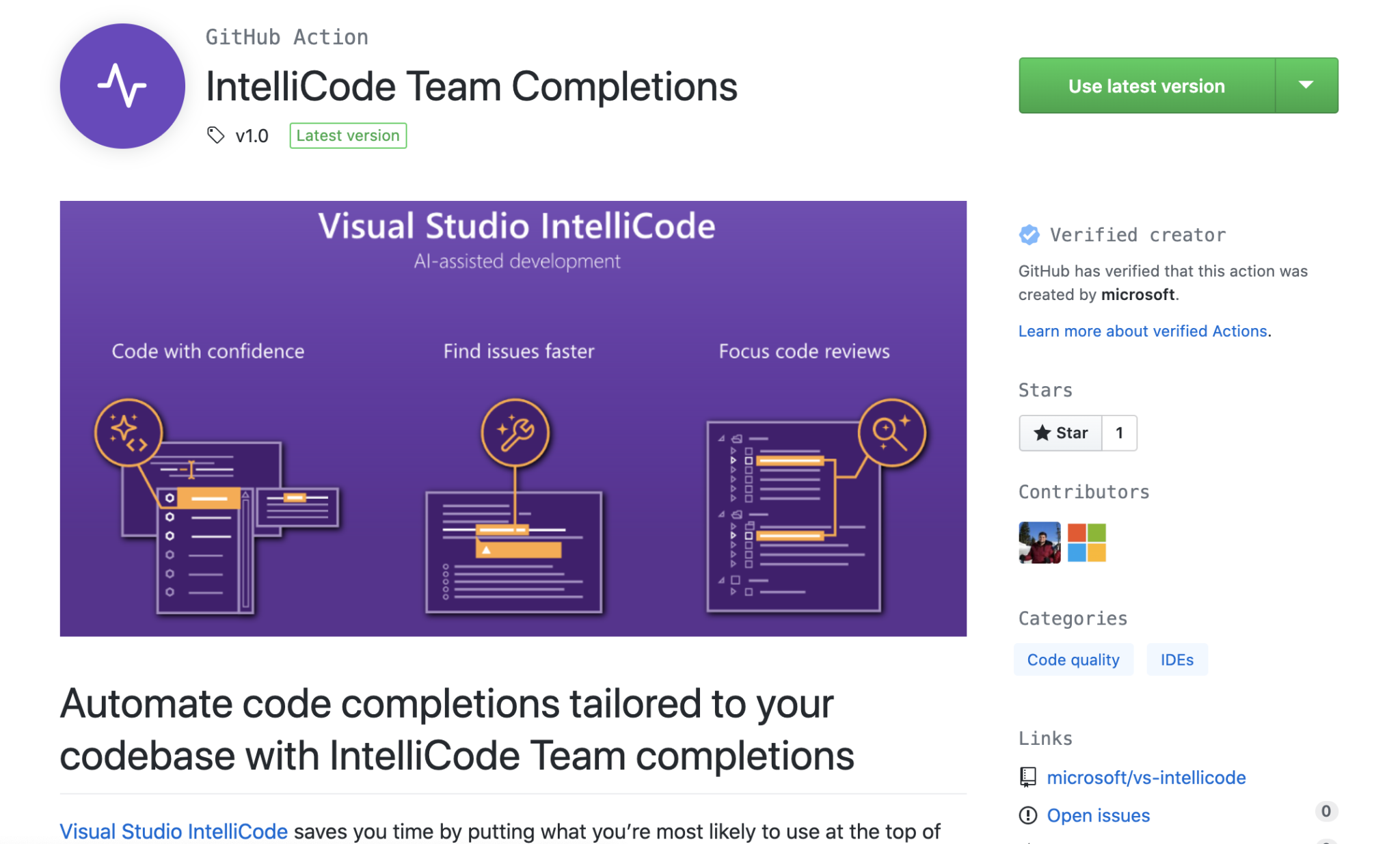 Image GitHub Action for Visual Studio IntelliCode Team Completions