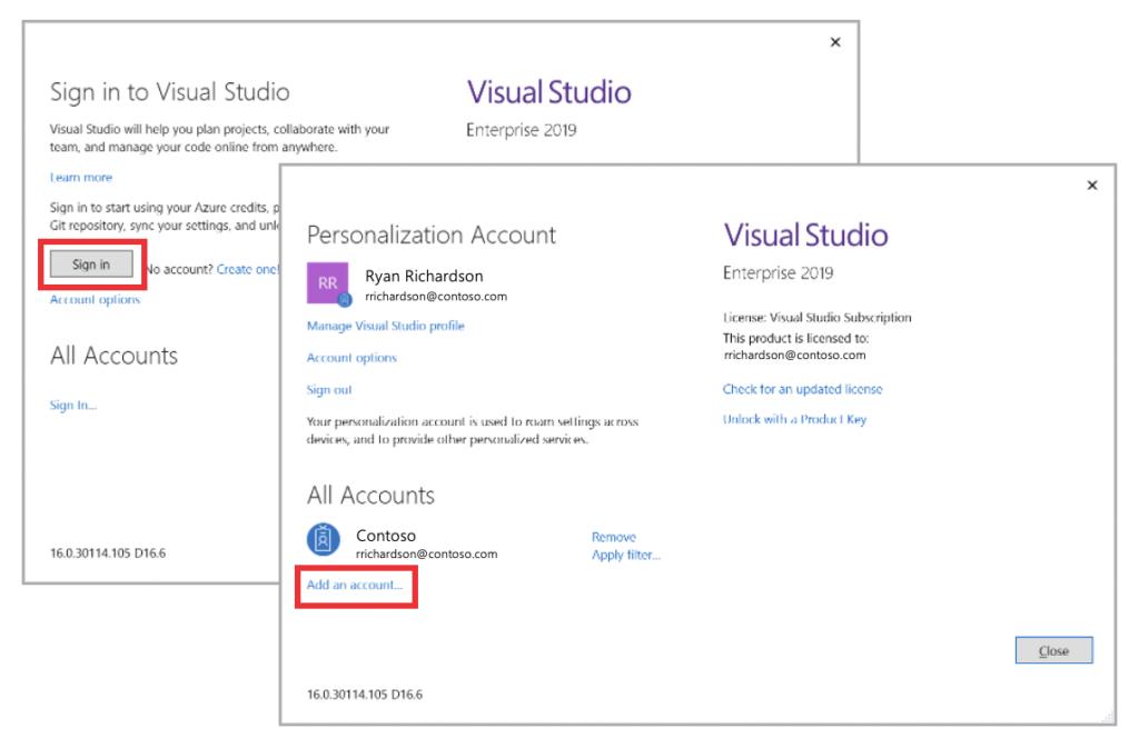 Add a new personalization account to Visual Studio.