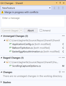 Image image of Git Changes window with unmerged changes