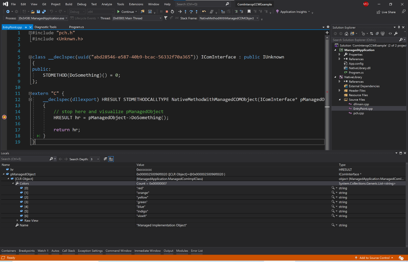 Visual Studio with Locals window showing automatically translated managed COM object