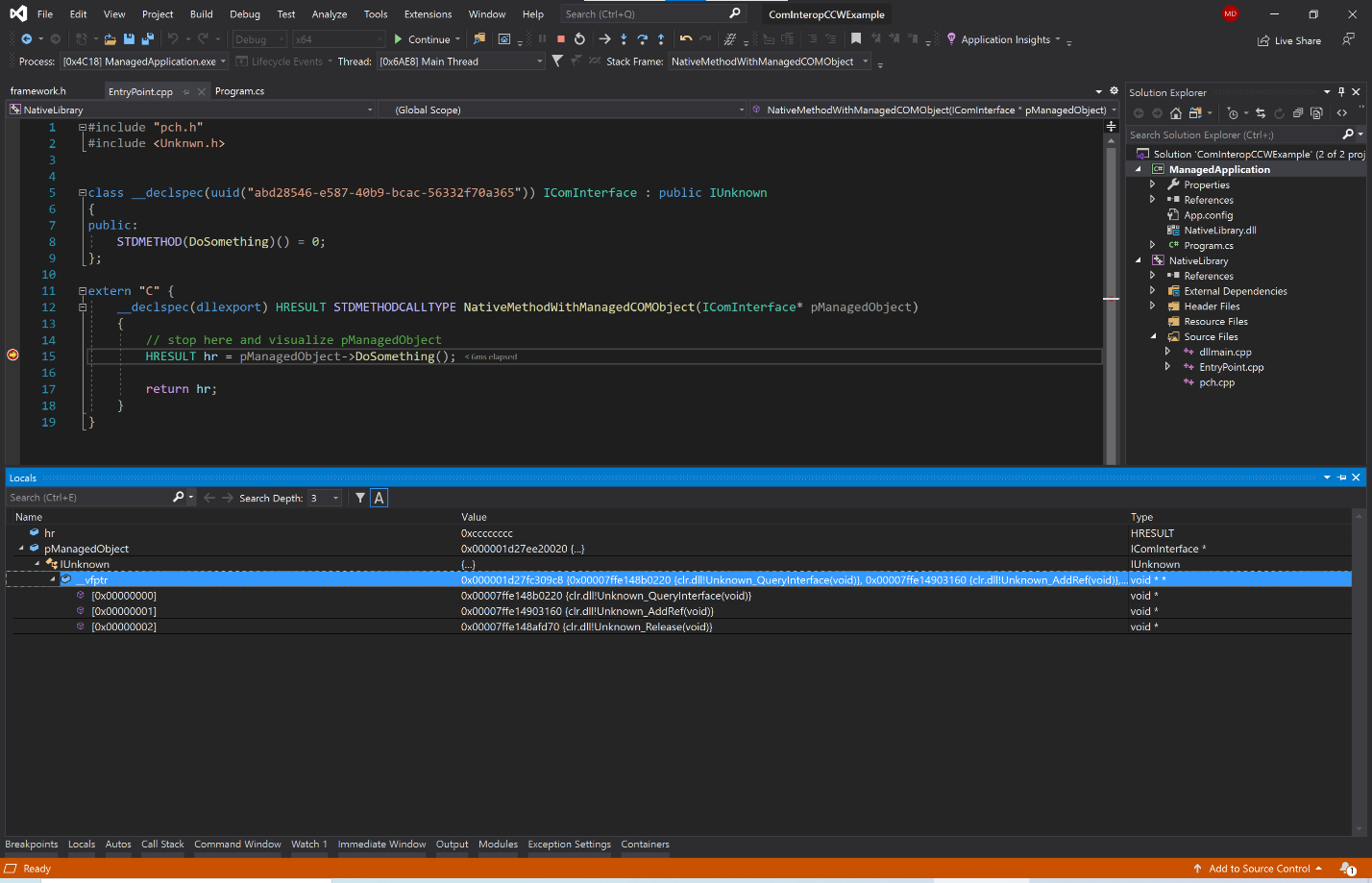 Visual Studio with Locals Window showing vtable