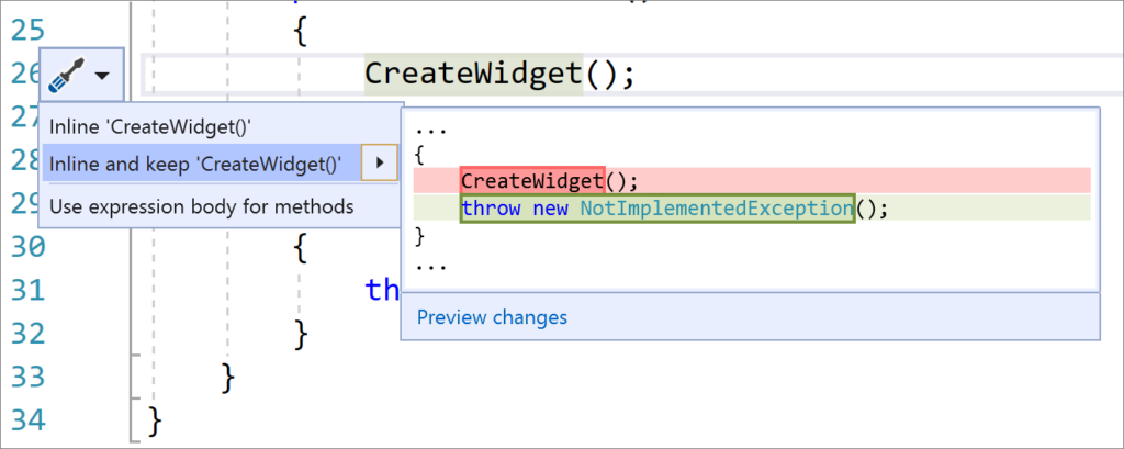 Inline and Keep Method Refactoring in Visual Studio 2019