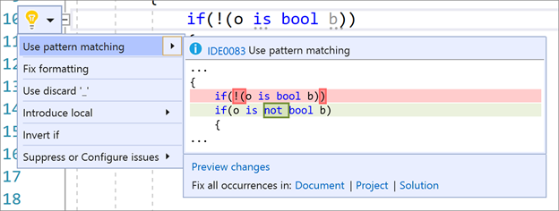 Use Pattern Matching in Visual Studio 2019 v16.8