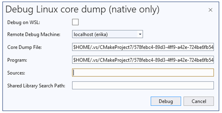 Linux Core Dumps in Visual Studio 2019 v16.8