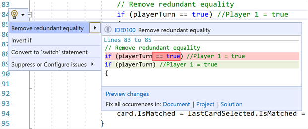 Remove Redundant Equality in Visual Studio 2019 v16.9 Preview 1