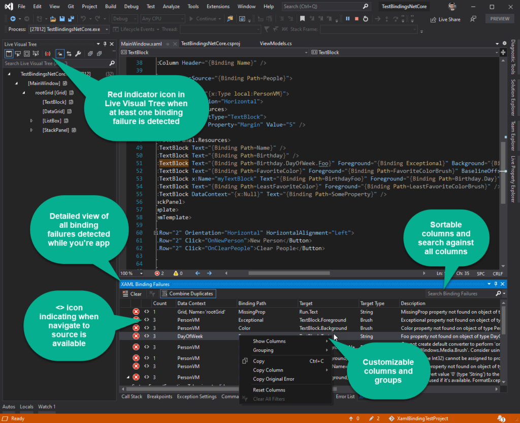 XAML Binding in Visual Studio v16.8 GA