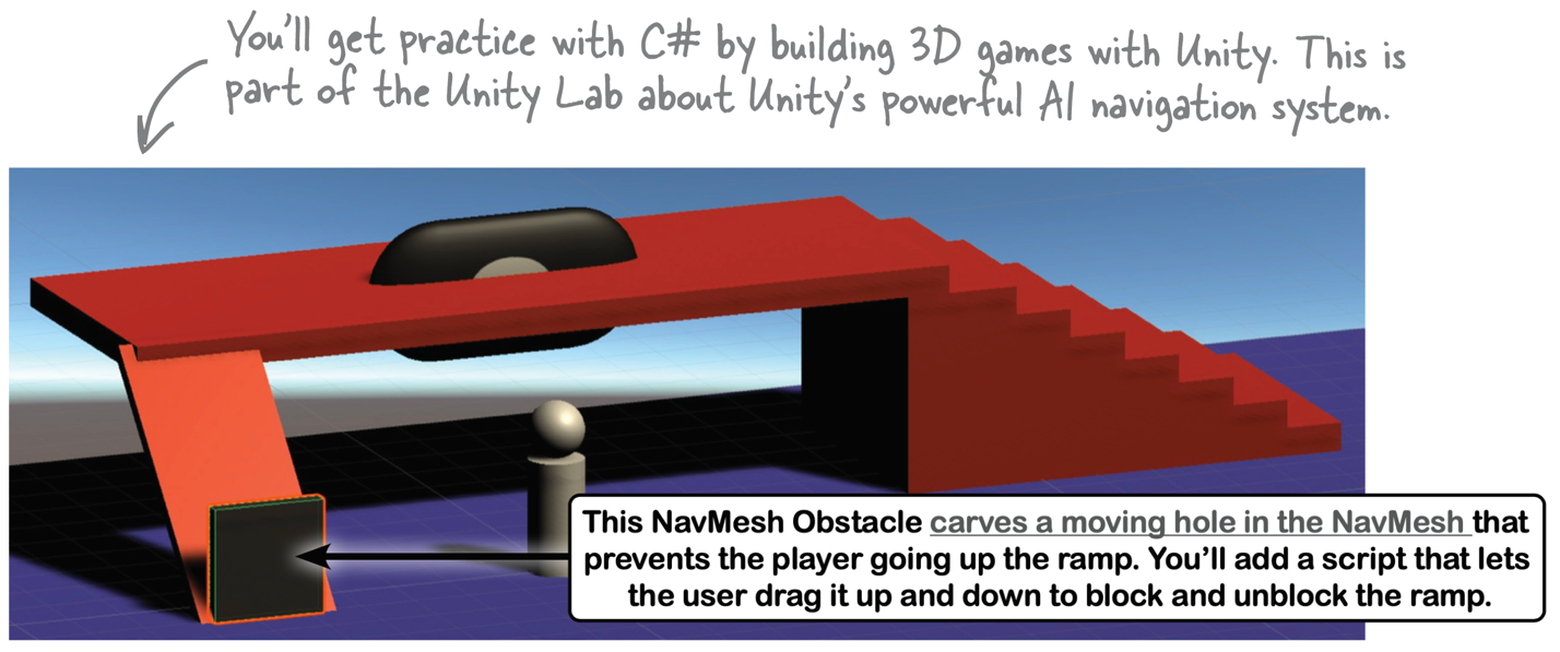 You'll get practice with C# by building 3D games with Unity. This is part of the Unity Lab about Unity's powerful AI navigation system.