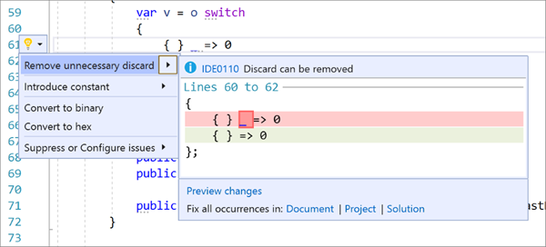 Removing Unnecessary Discards in Visual Studio 2019 v16.9 Preview 2
