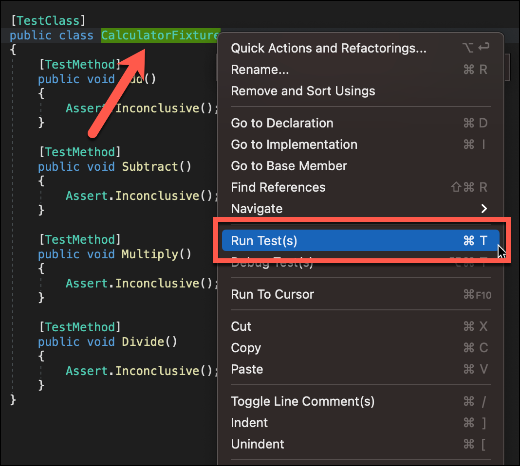 """CalculatorFixture class is selected, context menu shown with """"Run Test(s)"""" option highlighted."""