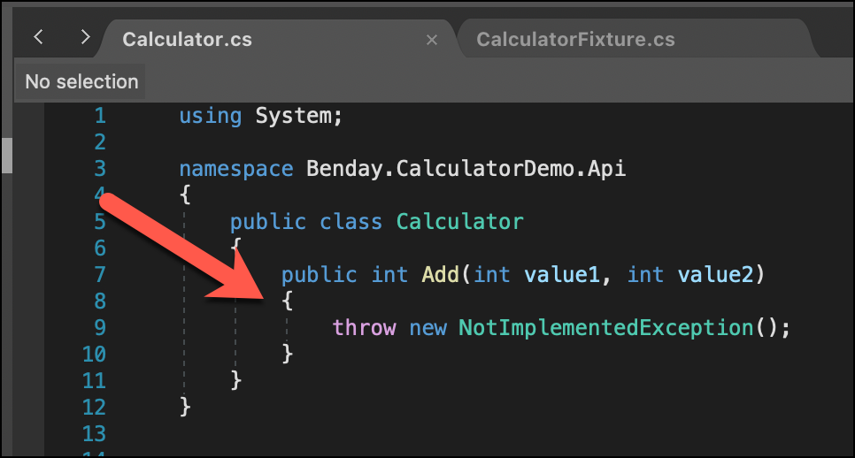 Generated code for Calculator Add method shown. This method just throws NotImplementedException.