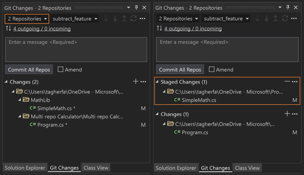 Committing changes to multiple repositories