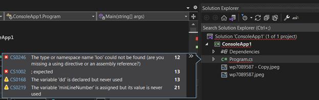 Image solution error visualizer example