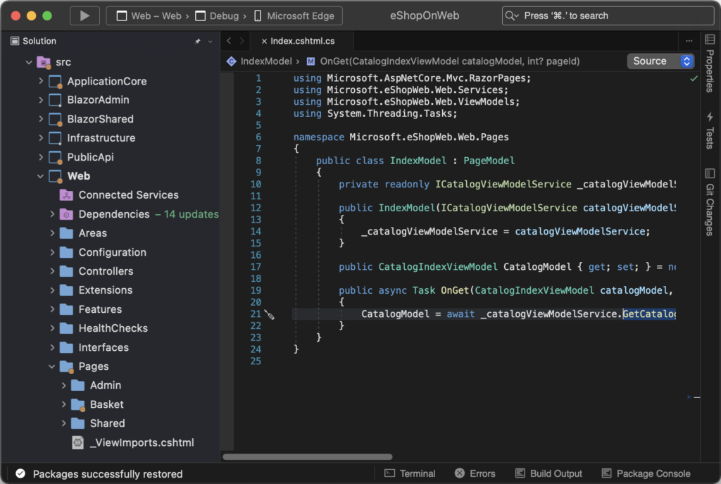 Visual Studio for Mac with a dark grey and black color theme