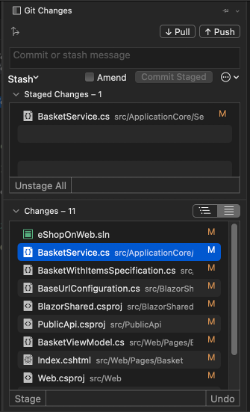 The Git Changes window in Visual Studio for Mac, enabling the creating of commits in Git version control.