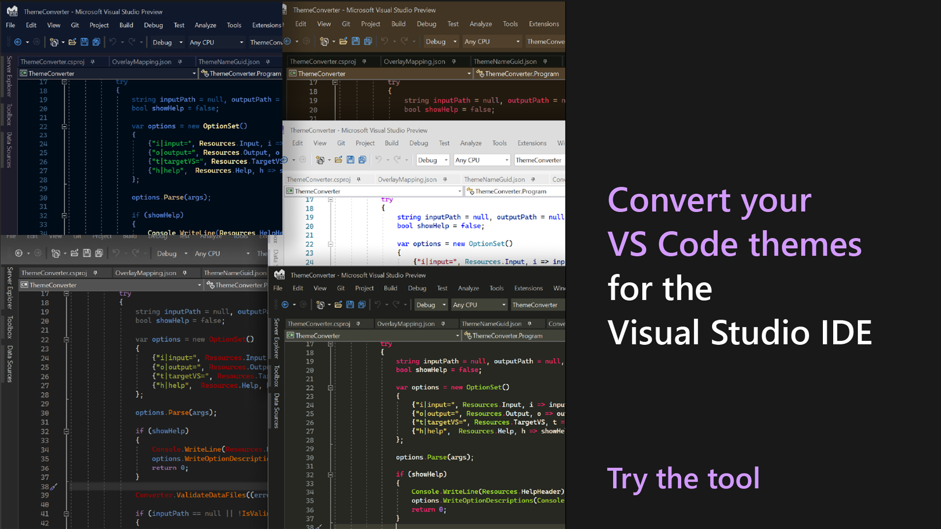 Convert VS Code Themes to Use in Visual Studio