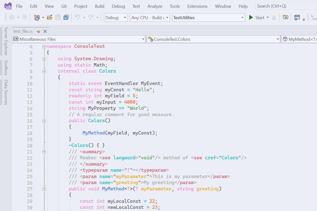 Image Eva Light Visual Studio Theme